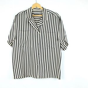 Vintage 90s Oversize Silk Striped Button Up Boxy L